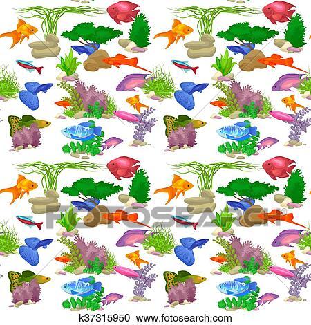 Clipart Of Aquarium Fish Vector Illustration Seamless Pattern