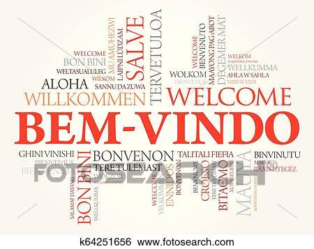 Bem Vindo Welcome In Portuguese Word Cloud Clip Art K64251656 Fotosearch