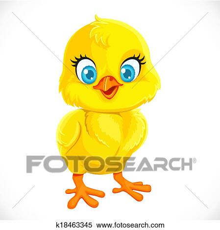 clipart of cute yellow cartoon baby chicken isolated on a white