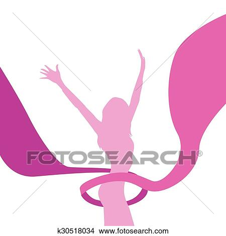 Female Silhouette Arms Up Pink Ribbon Breast Cancer Awareness Woman Clipart K30518034 Fotosearch