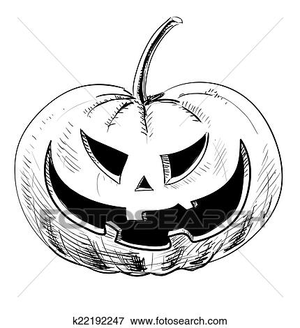 Clip Art Of Halloween Pumpkin With Evil Scary Smile K22192247