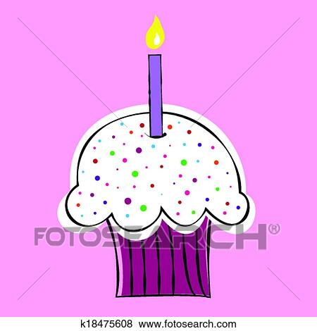Clip Art Of Happy Birthday Cupcake K18475608