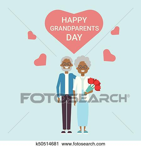 Clipart of happy grandparents day greeting card holiday banner clipart happy grandparents day greeting card holiday banner african american grandfather and grandmother couple together m4hsunfo