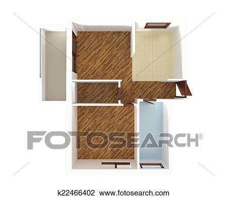 Clip Art Of House Plan Top View