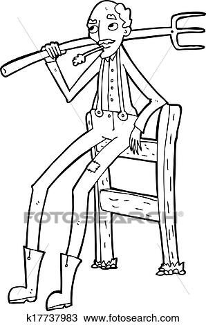 Clipart Of Cartoon Old Farmer Leaning On Fence K Search - Cartoon fence clip art