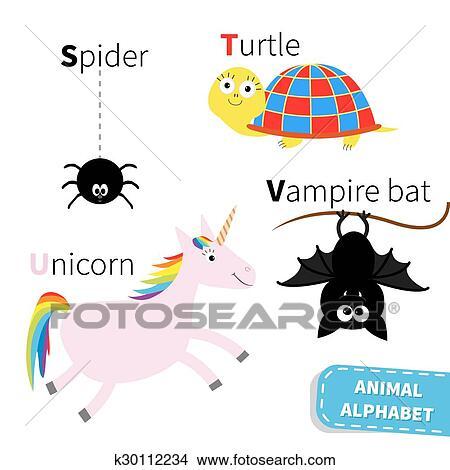 Lettera S T U V Ragno Tartaruga Unicorno Vampiro Pipistrello