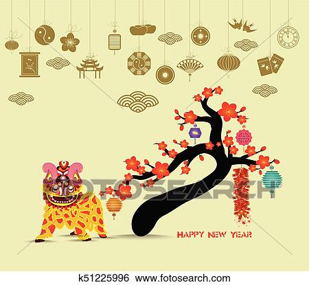 clip art oriental happy chinese new year 2018 blossom lion dance chinese baclground