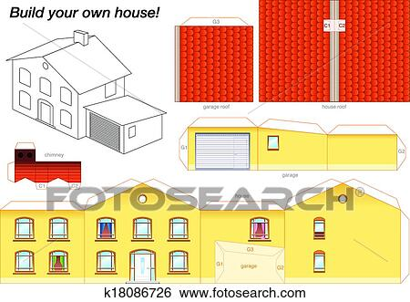 Paper Model Of A Yellow House With Garage
