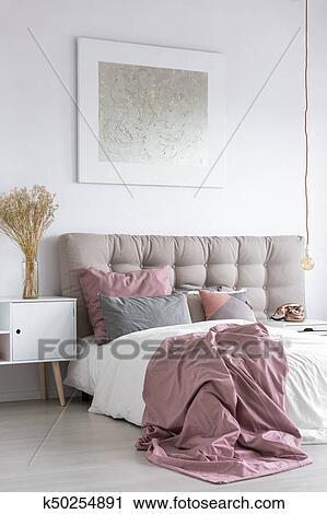 Pastello, camera letto, con, grigio, pittura Archivio Immagini