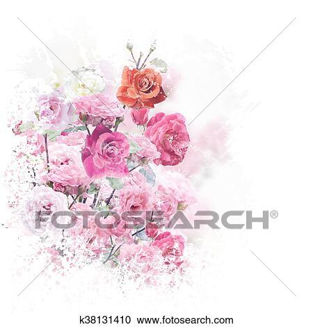Banque D Illustrations Rose Fleurs Aquarelle K38131410