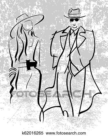 042356274406f Stock Illustration of Silhouettes of men and women in motion. Vector ...