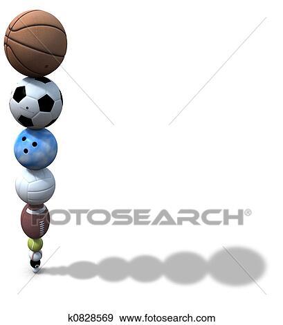 Stock Illustration Of Sports Ball Stack Background K0828569