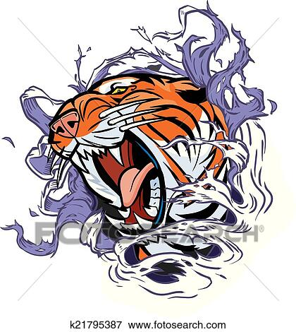 Tête Tigre Déchirer Dehors Fond Clipart