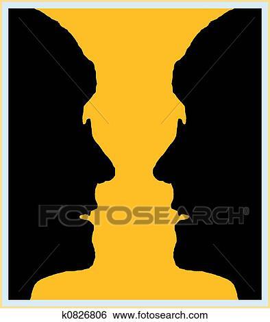 Stock Illustration Of Vase Illusion K0826806 Search Clip Art