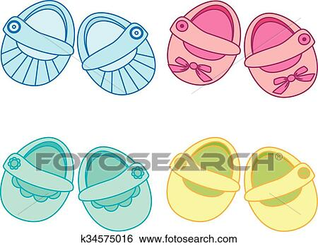 Vector Baby Shoes Icon Baby Shower Clip Art K34575016 Fotosearch