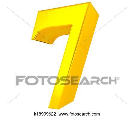 7 Solido Ouro Numero Cobranca 3d Desenho K18999522 Fotosearch