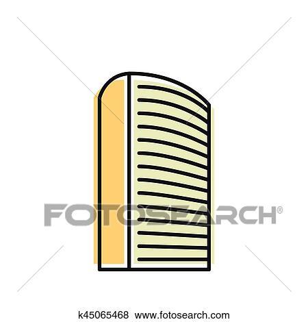Clip Art - aislado, amarillo, color, rascacielos, en, lineart ...