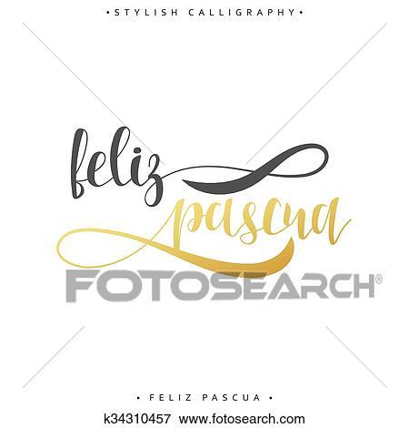 Clip art of feliz pascua greeting inscription happy easter in greeting inscription happy easter in spanish fotosearch search m4hsunfo