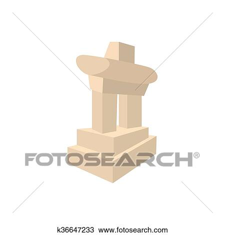 Drawing Of Inukshuk In Canada Icon Cartoon Style K36647233 Search