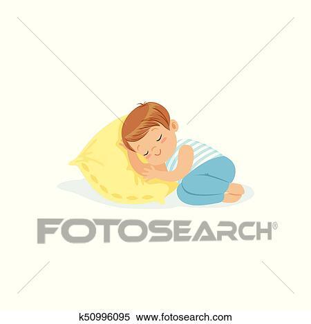 Clipart Mignon Petit Garcon Dormir Sur A Oreiller Dessin