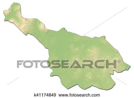 Map Of Ireland Cavan.Relief Map Cavan Ireland 3d Rendering Stock Illustration