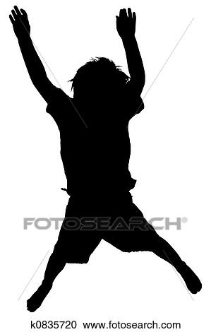 Silhouette Over White With Clipping Path Toddler Boy Jumping