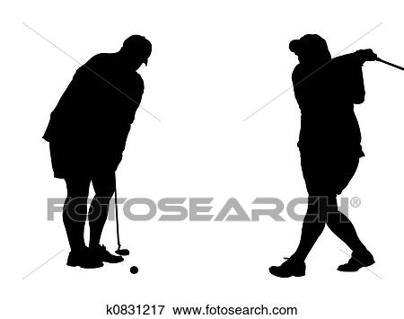 Stock Illustration Of Two Golf Silhouettes K0831217 Search Eps