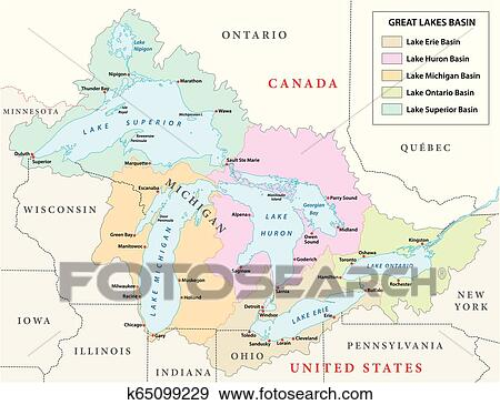 Vector map of the Great Lakes Basin Clip Art