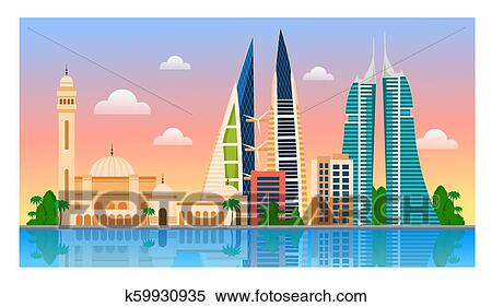 d58aa75f15c0 Clipart of Welcome to Bahrain. Manama. k59930935 - Search Clip Art ...