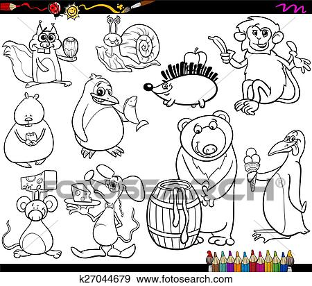 Clip Art Of Animals And Food Coloring Page K27044679 Search