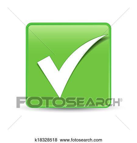 Clip Art Of Check Mark Symbol Green Button K18328518 Search