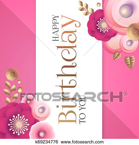 Happy Birthday Cute Congratulation Card Template With Pink