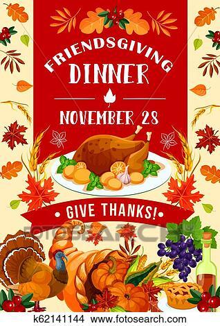 Clipart Of Holiday Potluck Friendsgiving Day Turkey K62141144