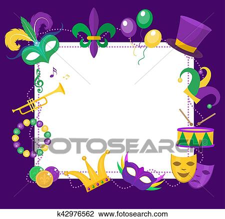 Clipart of Mardi Gras frame template with space for text. Carnival ...
