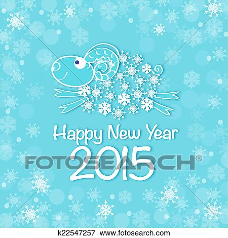 2015 new year card with blue sheep