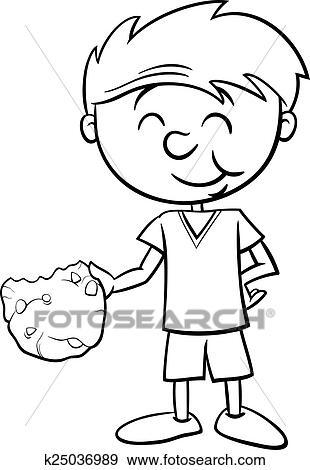 Clip Art - niño, con, galleta, colorido, página k25036989 - Buscar ...