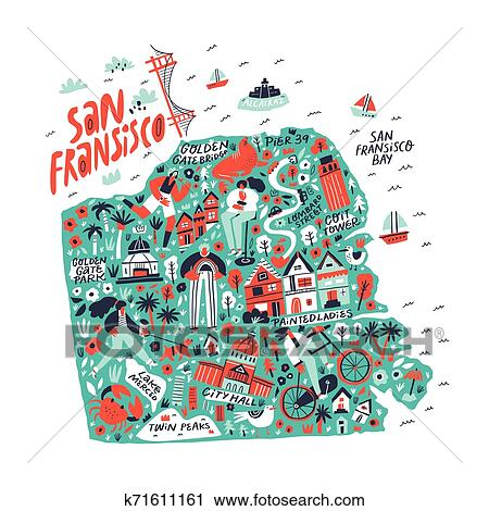 San Francisco creative travel map flat hand drawn illustration. American  state tourist landmarks and famous places names lettering and doodle ...