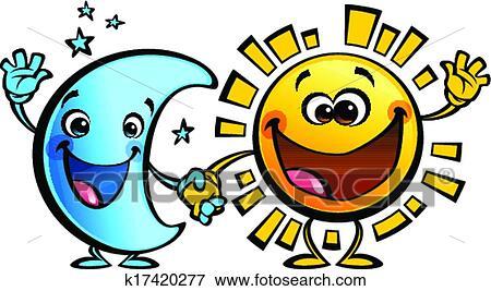 Clip Art Sol Y Luna Mejores Amigos Bebé Caricatura