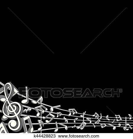 Clipart Of Abstract Music Background With Notes K44428823 Search