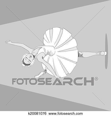 Bailarina Preto Branco Clipart K20081076 Fotosearch