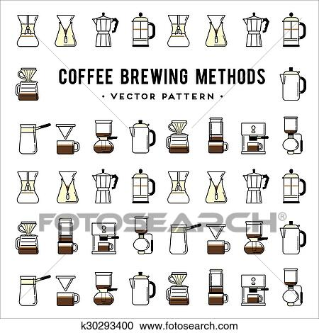 Clipart of Coffee brewing methods pattern. Different ways ...