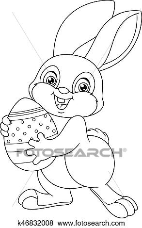 Easter Rabbit Coloring Page Clip Art | k46832008 | Fotosearch