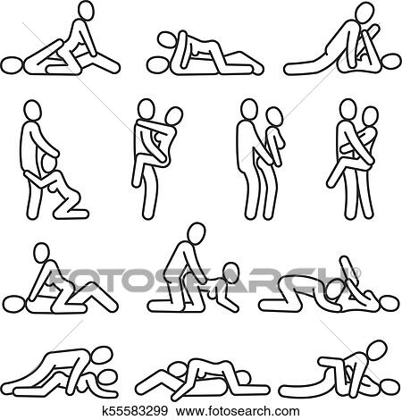 clip art of love affair vector outline symbols sexual position