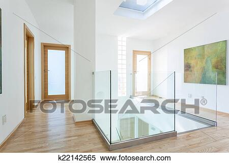 Stock Bild Treppe Glas Treppengelander Und Turen In Modernes