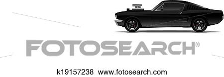 Clip Art Of Black Muscle Car With Supercharger K19157238 Search