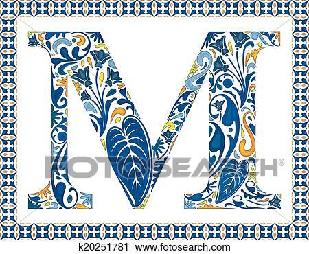 Clipart Of Blue Letter M K20251781 Search Clip Art Illustration