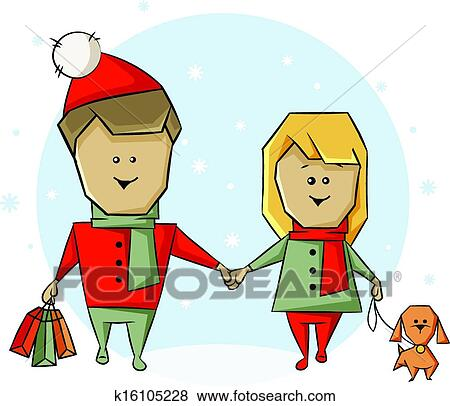 clip art of christmas shopping k16105228 search clipart rh fotosearch com christmas shopping girl clipart christmas shopping girl clipart
