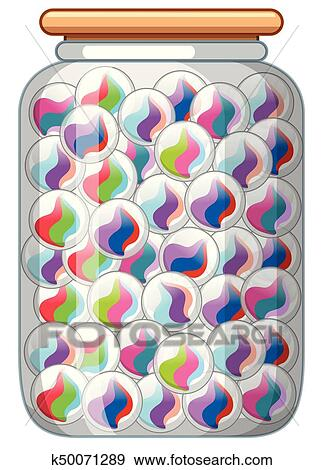 Colorful Marbles In Glass Jar Clip Art K50071289