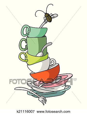 clip art of dirty dishes k21116007 search clipart illustration rh fotosearch com dirty dishes clipart free clean dirty dishes clipart