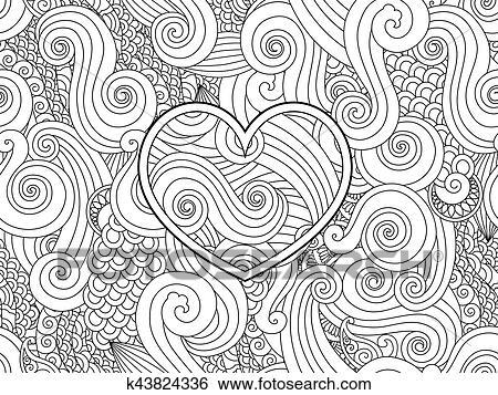 Clip Art - färbung, seite, mit, herz, und, asiatische, welle, locke ...